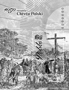 1050 rocznica Chrztu Polski bloczek czarnodruk