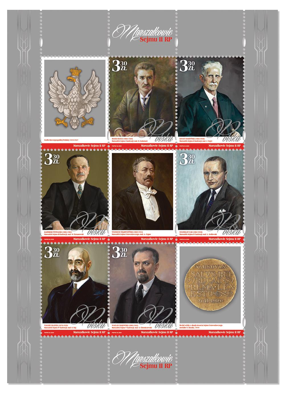 波兰11月11日发行波兰第二共和国下议院的领袖邮票