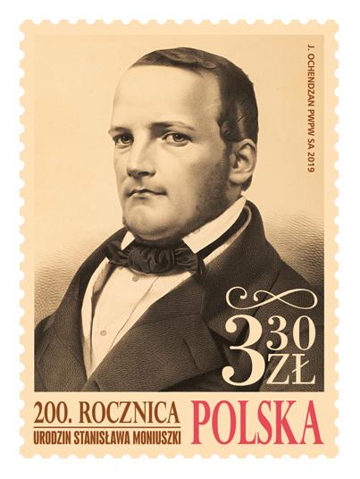 波兰5月5日发行斯坦尼斯拉夫・莫纽什科诞辰200周年邮票