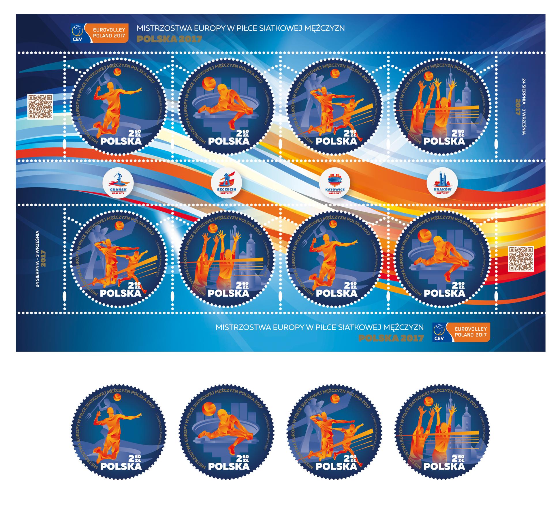 波兰8月10发行2017欧洲排球锦标赛邮票