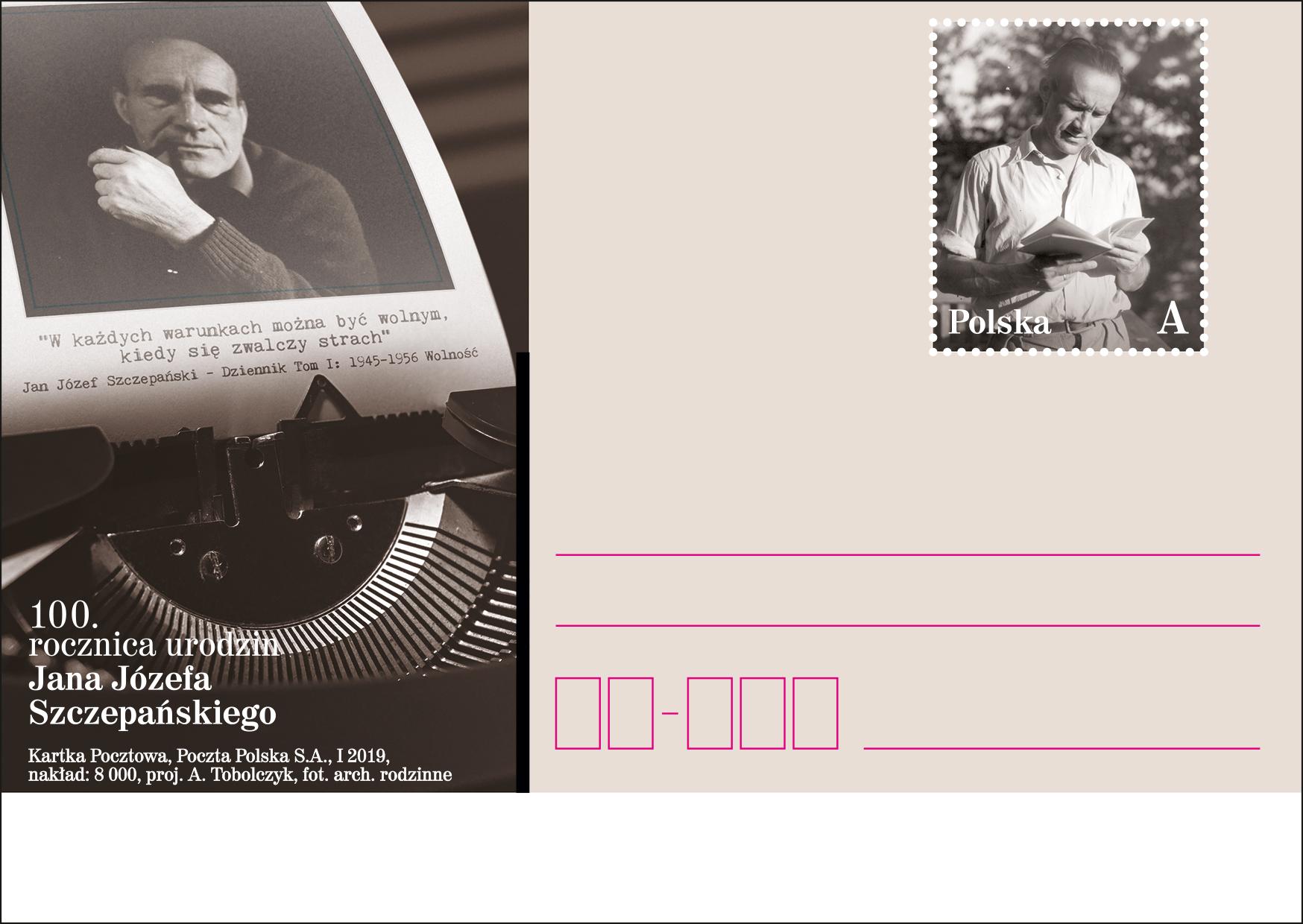 波兰1月12日发行扬・约瑟夫・什切潘斯基诞辰100周年邮资片