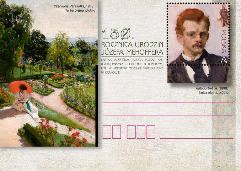 波兰3月19日发行Józefa Mehoffera诞辰150周年邮资片