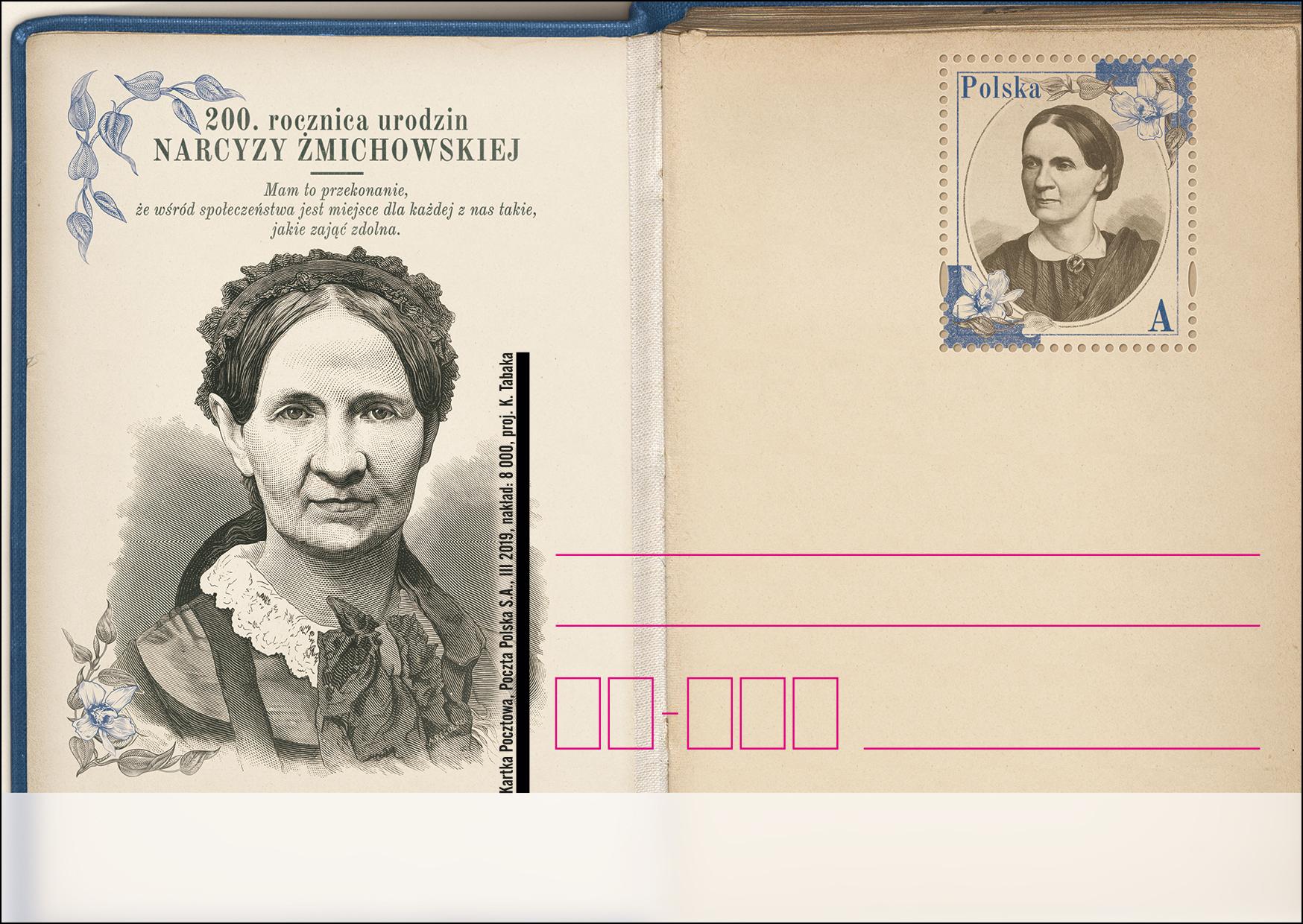 波兰3月4日发行Narcyza Żmichowska诞辰200周年邮资片