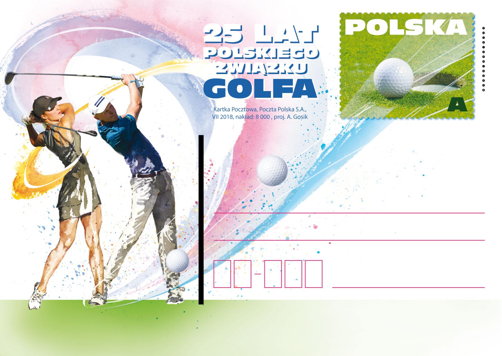 波兰7月31日发行波兰高尔夫联盟25周年邮资片