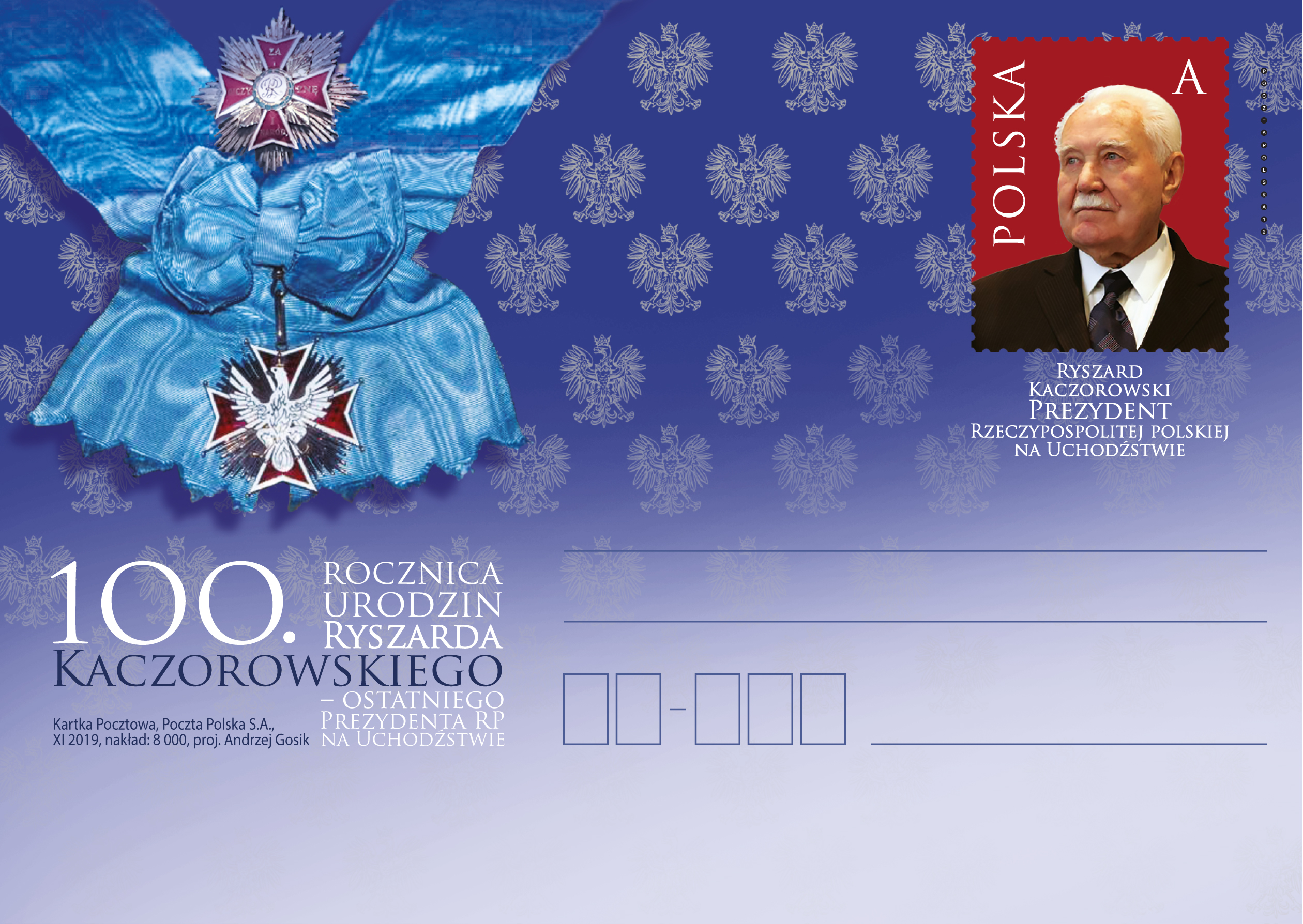 波兰11月24日发行雷沙尔德・卡丘罗夫斯基诞辰100周年邮资片