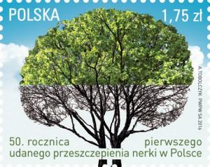 50 rocznica przeszczepienia nerki w Polsce znaczek