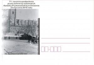 kartka okolicznościowa -71 rocznica podpalenia przez żołnierzy sowieckich Katedry Prymasowskiej w Gnieźnie