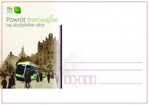 kartka okolicznościowa-Powrót tramwajów na olsztyńskie ulice